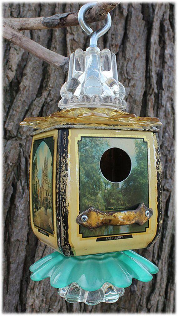 Vintage Tea Tin Bird House, Salisbury Tin, Upcycle, Industrial Design, Repurpose, Vintage Glassware, Garden Art, Steampunk, Assemble Art