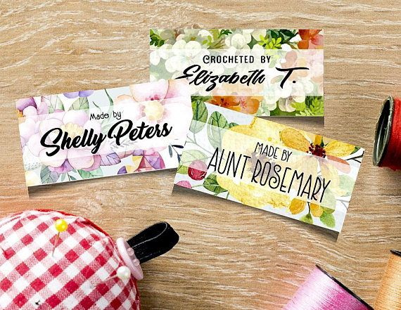 """Custom Fabric Labels, Pastel Floral Designs, Sew-on, Iron-on, 80 Labels, 2""""W x 1""""H,  Uncut, Your Name Added, Colorfast 100% Preshrunk Cotton by madmadgraphics. Explore more products on http://madmadgraphics.etsy.com"""