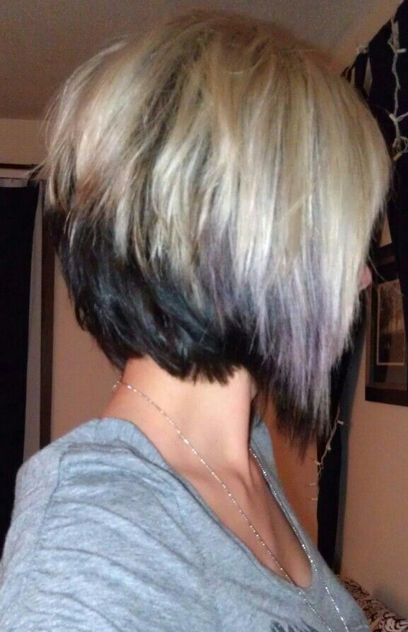 This is my actual hair/photo.   So tempted to cut my hair like this again!! I miss my inverted bob. Two color bob