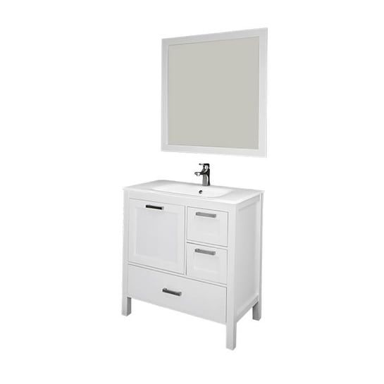 Siena 36 Vanity w/ Solid Doors & Glass Sink (White), Size Single Vanities