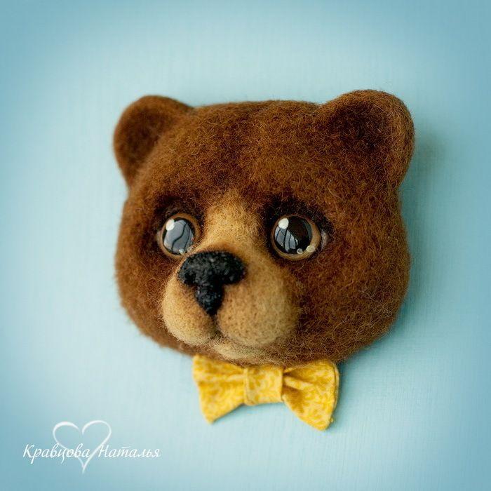 Тедди-брошь Антошка - коричневый,мишка,тедди,брошь,войлок,валяная,авторская