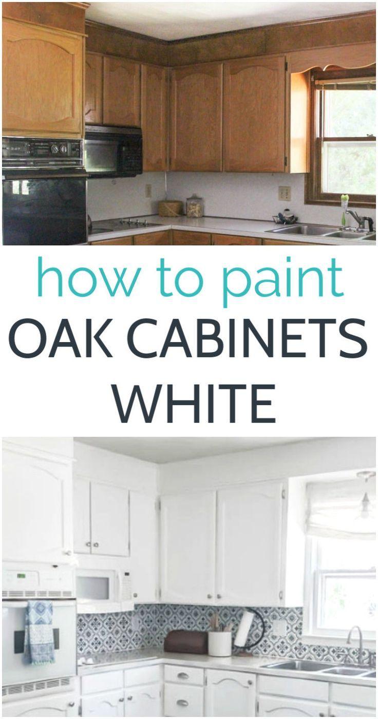 Painting Oak Cabinets White An Amazing Transformation In 2020 Painting Oak Cabinets Spray Paint Kitchen Cabinets Painting Kitchen Cabinets White