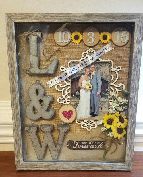 Rustic wedding shadowbox