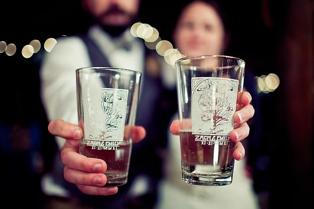 our barn wedding reception ... pint glass favors! (angelacoxphotography.com)