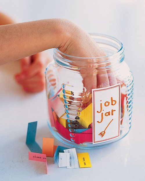 """Job jar!  Great way to have kids """"pick"""" their own chores from a recycled glass jar."""