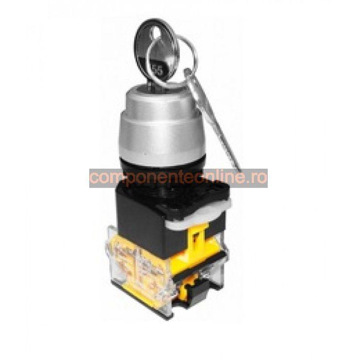 Comutator cu cheie, ON-OFF-ON, cu retinere, 10A, 380V, 76x38x30mm - 169489