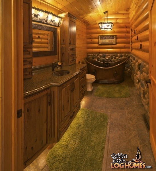 17 best images about western bathrooms on pinterest for Log cabin bathroom design ideas