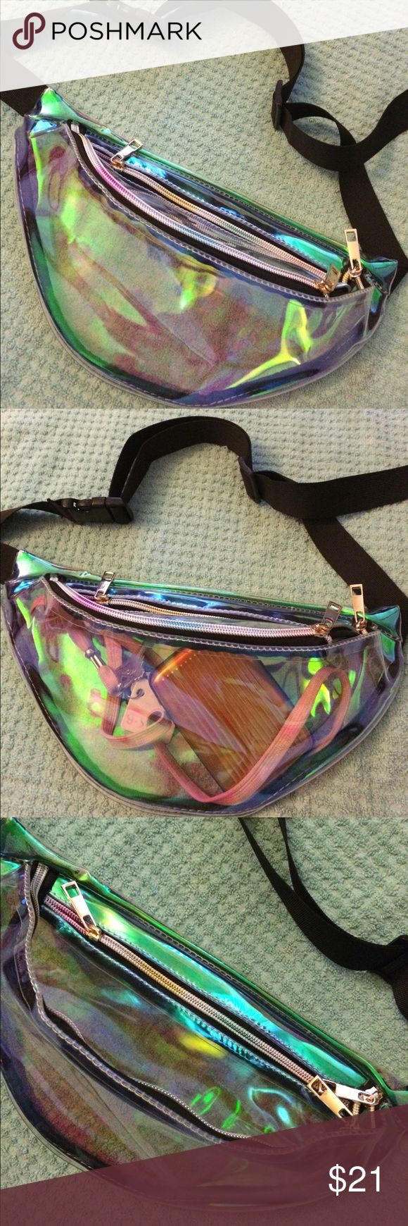 Large green holographic fanny pack! ✨ Brand new and never used holographic green fanny pack! See through (see example in second pic); perfect and super cute for music festivals, raves, or any events! Has TWO pockets (the main, larger one & a small one near the top) with gold zippers ✅UNIF for exposure UNIF Accessories