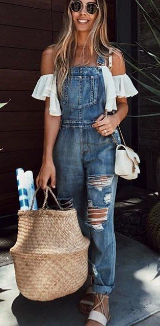 summer outfits  Ripped Denim Overall + White Off The Shoulder Top