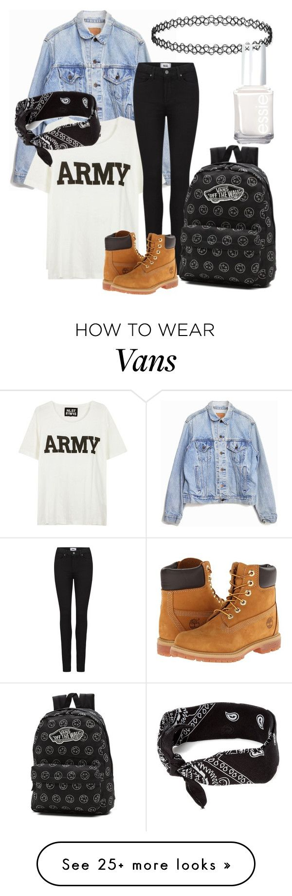 good look by vanessa150802 on Polyvore featuring NLST, Levis, Paige Denim, Timberland, Vans, claires and Essie