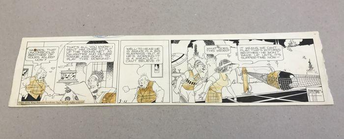 George McManus opvoeden vader Daily Comic Strip originele kunst D.d. 3-11-39 (King Features Syndicate 1939)  George McManus Bringing Up vader dagelijkse Comic Strip originele kunst d.d. 3-11-39 (King Features Syndicate 1939).Inkt over grafiet met blauwe potlood op Bristol bord met een geschatte afbeeldingsgebied van 47 x 115 cm.Zipatone schermen zijn afgevallen lijm vlekken achterlaat.Zeer goede staat  EUR 196.00  Meer informatie