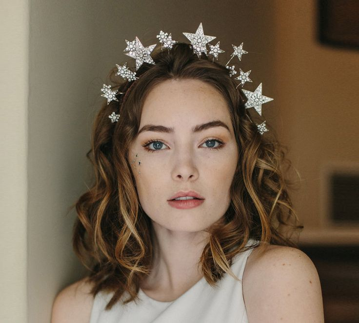 1920s tiara, star crown, wedding hair accessory - Cosmic Beauty no. 2146