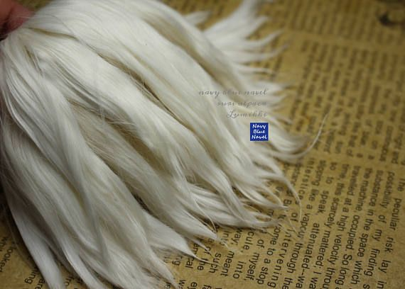 Alpaca hair for dolls, 6-7 inch LUMIKKI pure platinum white blond SURI