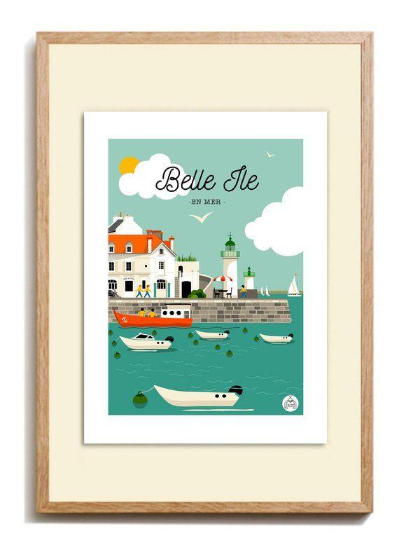Poster Island Sea Vintage 30x40cm Sea Bath Series Belle Ile En Mer Affiches De Voyage Retro Affiche Vintage