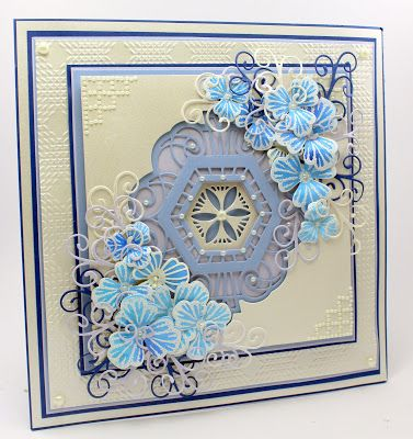 Happy Monday,   A little busy card for today but I really do like the effect even if it is a bit bust with flowers! I wanted to post this...