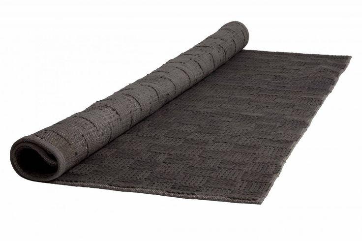 HK-living Vloerkleed grijs wol 170x240cm, Donkergrijs tapijt