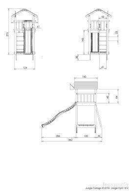 Drevená veža šmýkačka dvojhojdačka pieskovisko