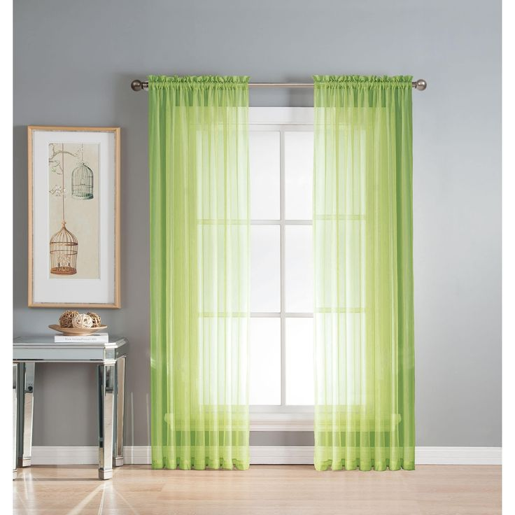 Window Elements Diamond Sheer Voile 56 x 95 in. Rod Pocket Curtain Panel - 56 x 95 (Lime), Green (Polyester, Solid)