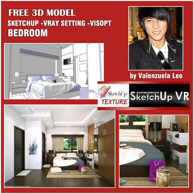 SKETCHUP TEXTURE: FREE SKETCHUP 3D SCENE BEDROOM AND VISOPT