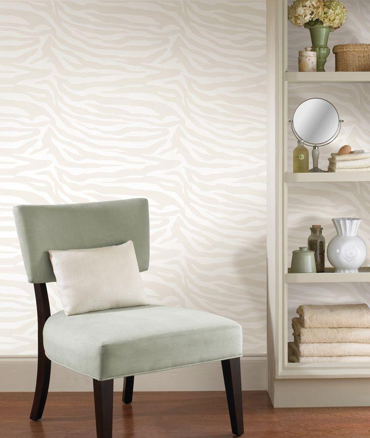 bathroom decor idea with a zebra print wallpaper feature wall
