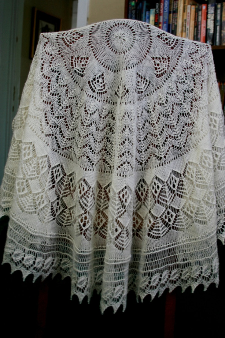 Hand Knitted Circular Pi Shawl in Traditional Shetland Lace. $200.00, via Etsy.