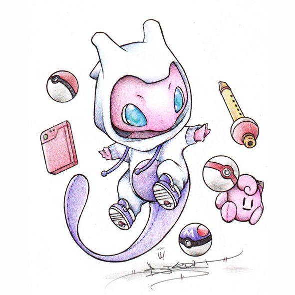 Pokemon - Mew dressed as Mewtwo