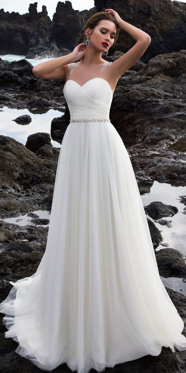 Graceful Tulle Jewel Neckline A-Line Wedding Dress with Beading