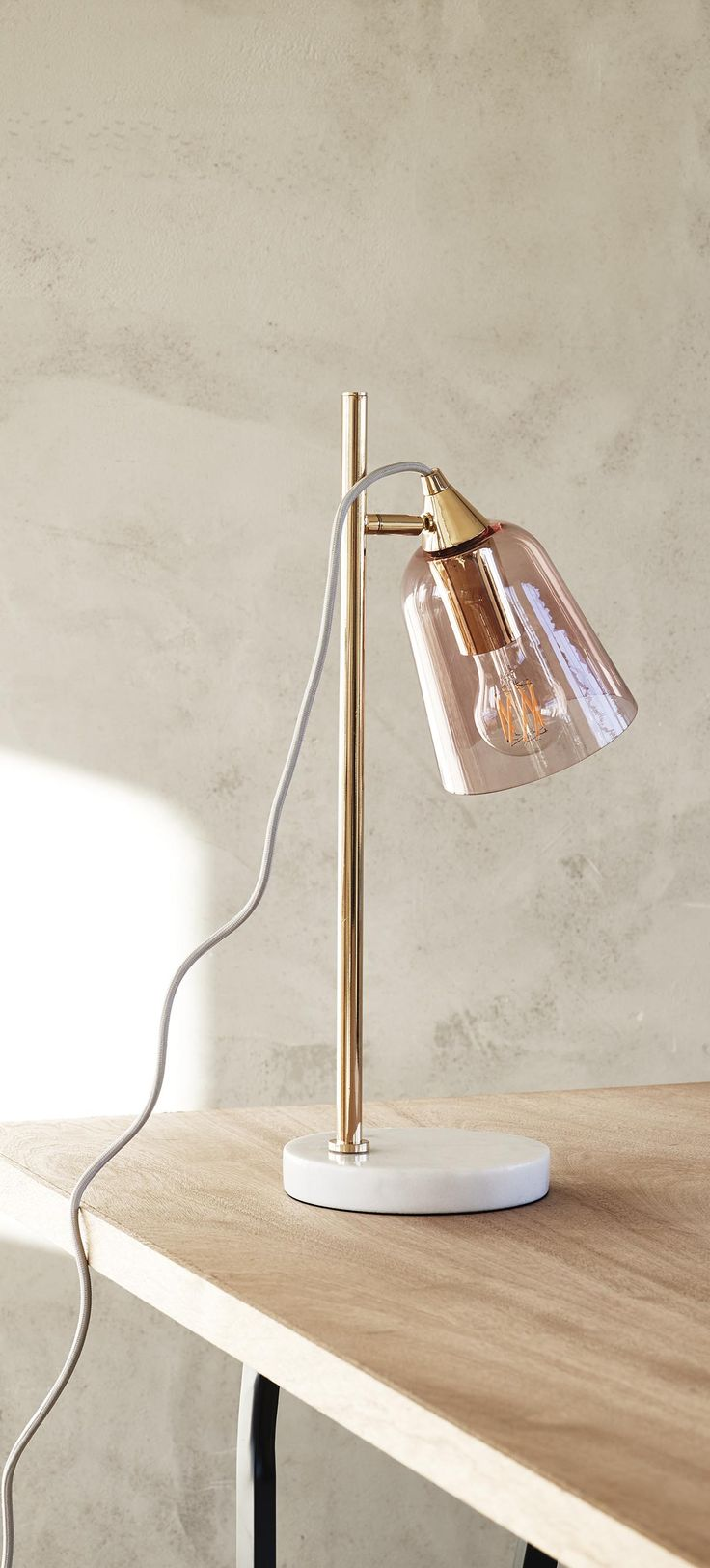 Glass Shade Marble Table Lamp
