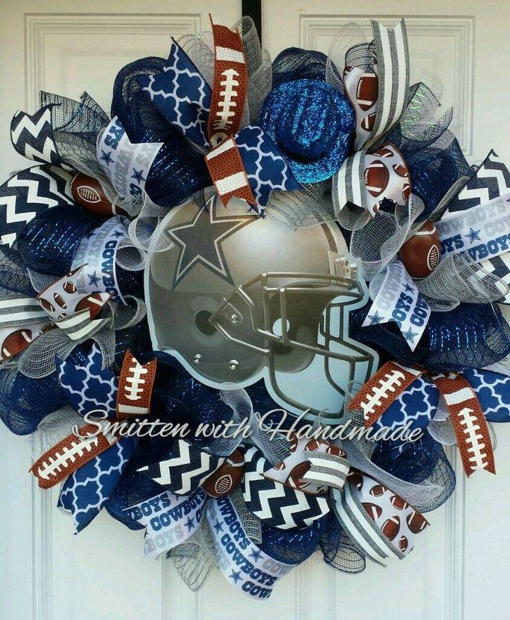 Football Wreath, Dallas Cowboys Door Decor, Football Wreath, Any Football Team | eBay