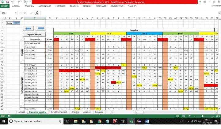 planning travail conges absences excel | Planning de travail, Planning, Planning chantier