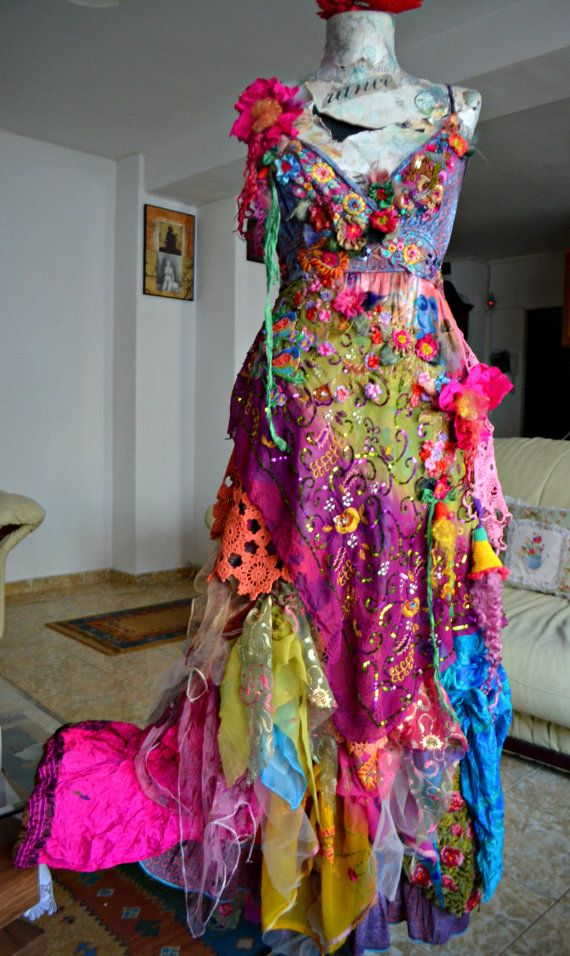 Shabby chic Bohemian romantic long dress art to by irinacarmen