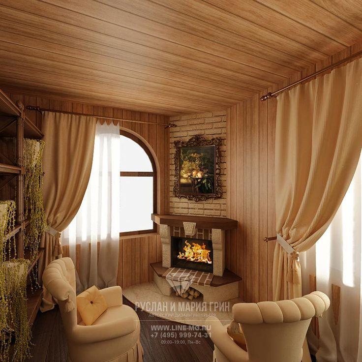 Фото интерьера гостиной с камином в экостиле  http://www.line-mg.ru/dizayn-kaminnogo-zala-v-dome-iz-brusa