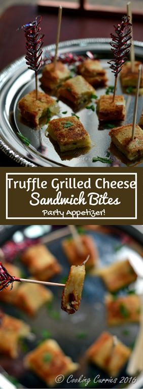 Truffle Grilled Cheese Sandwich Bites - Party Appetizer If you thought that a simple grilled cheese sandwich cannot be made any fancy, then you have gotta try this Truffle Grilled Cheese Sandwich Bites! Serve it at your next party and your guests will be