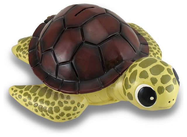 Baby Brown Shell Sea Turtle Coin Bank Statue Childrens Piggy Bank beach-style-piggy-banks