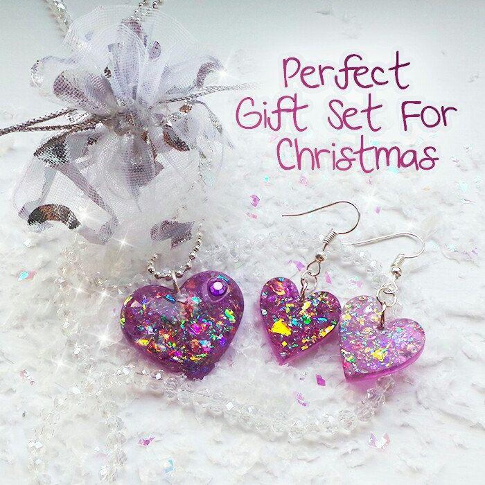 Matching purple resin jewellery set for christmas 💜🎄🌟☃