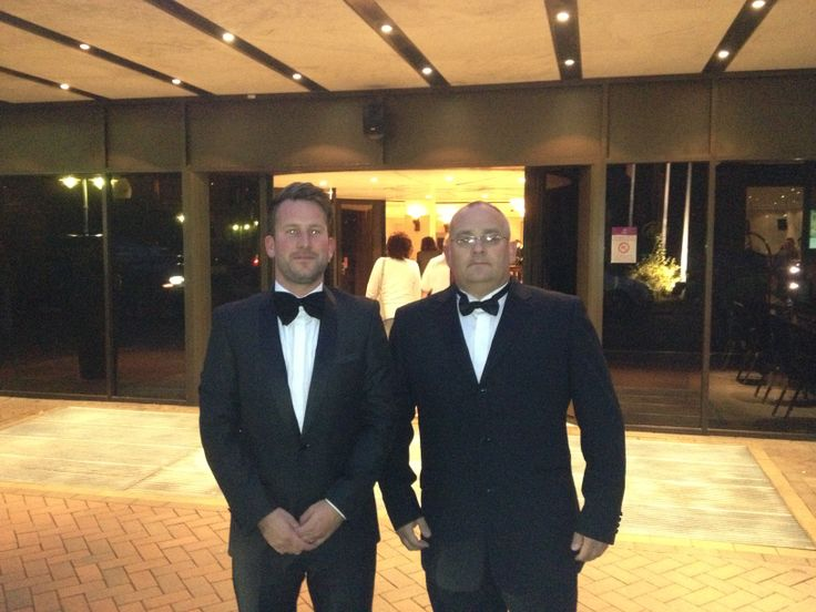 Nick Good of NGPS Ltd and Tim Roebuck of Metgen Ltd at the Hilton Hotel before the 2012 Solar Power Portal Awards.
