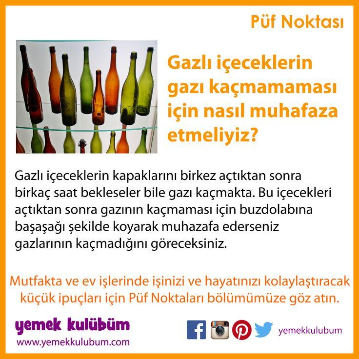 GIDALARI SAKLAMA YÖNTEMLERİ : Gazlı içeceklerin gazının kaçması nasıl önlenir? http://yemekkulubum.com/puf-noktasi-liste/gidalarin-saklanmasi-ile-ilgili-puf-noktalari #gaz #gazlı #içecek #gazlıiçecek #şişe #kola #soda #madensuyu #gıdasaklama #gıdamuhafaza