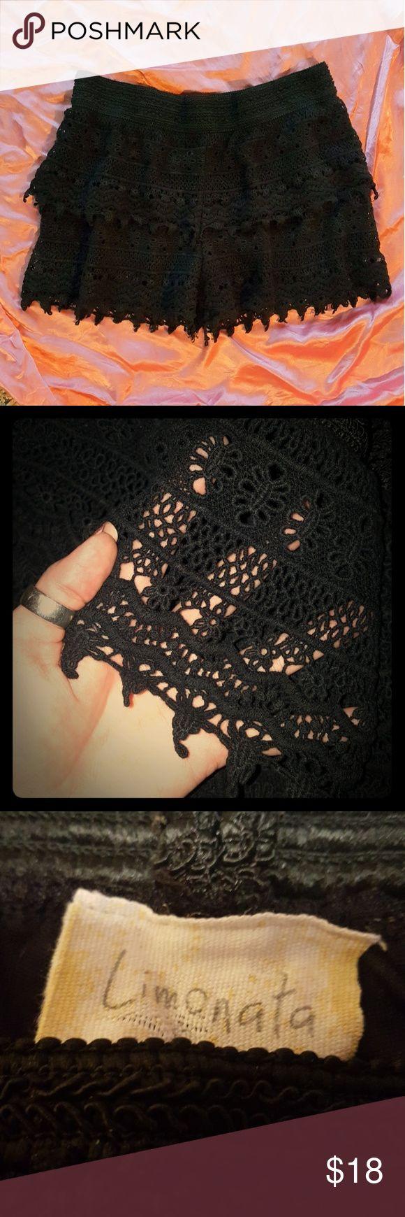 Limonata crochet shorts L Black crochet shorts with elastic waistband, barely worn they are like new. Limonata Shorts
