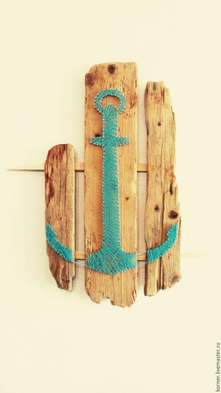 """Купить Стринг арт """"якорь"""" подарок мужчине панно на морскую тему. - бирюзовый, интерерная, якорь"""