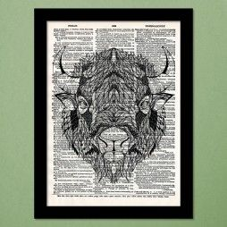 Bison Tattoo Dictionary Art Print