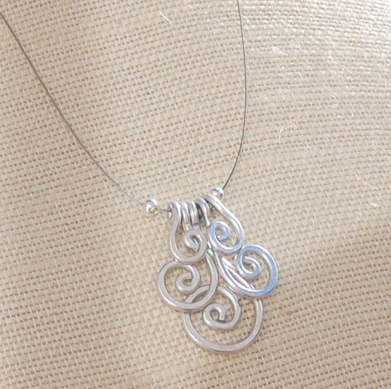 Spiral necklace, Cluster, Silver aluminum, Wire jewelry
