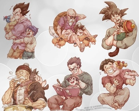 Vegeta, Bula, and Trunks. Master Roshi, Krillin, and Goku. Goku and Gohan. Grandpa Gohan and Baby Goku. Adult Gohan and Pan. Krillin and Marron.
