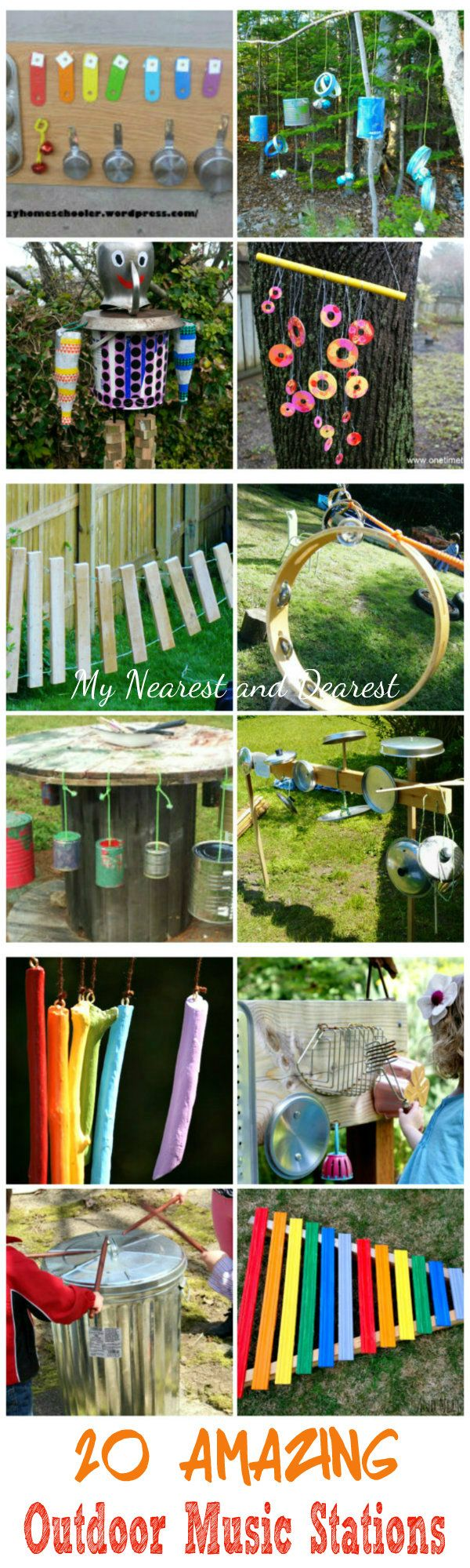 20 Amazing Outdoor Music Stations. From wind chimes, to banging walls, to a cool music man this post has SO much inspiration. #kids #outdoors #play