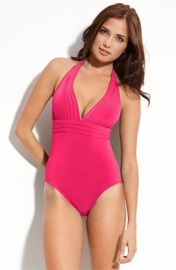 Robin Piccone Pleated One Piece Swimsuit available at #Nordstrom