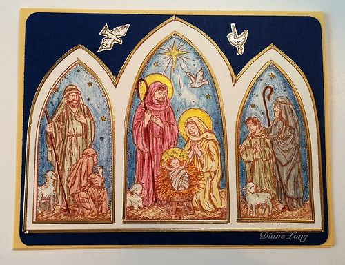 Nativity card. Rubber stamp, colored pencils. For more ideas visit Creative Destinations Guide
