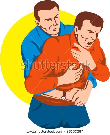 Adult giving another adult male a heimlich maneuver.    #heimlichmaneuver #retro #illustration