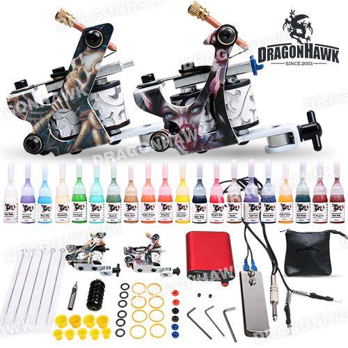Полный Beginer Татуировки Kit 2 Пулеметы 20 Цветные Чернила Питания Установить D175-1
