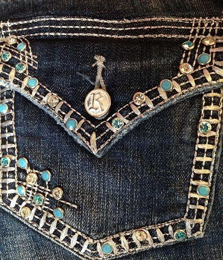 Rock & Roll Cowgirl Turquoise Rhinestone Mid Rise Boot Cut Jean: Sierra Western Wear