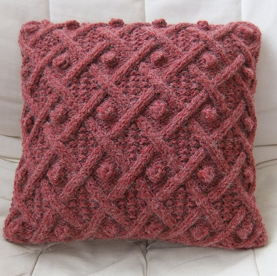 Hand Knitted Red Cable Cushion / Throw Pillow Cover