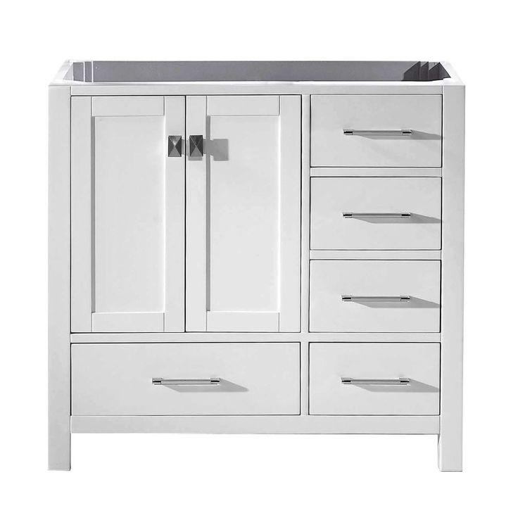 Virtu USA Caroline Avenue 36-inch Solid Wood Cabinet Only (Light Grey - White Finish), Size Single Vanities